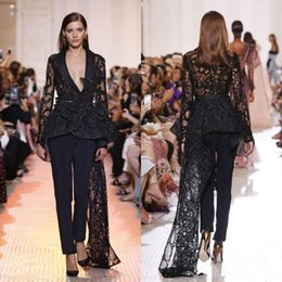 $enCountryForm.capitalKeyWord Australia - Elis Saab Evening Jumpsuit with Train 2019 Shiny Lace Sequins Peplum long sleeve V-neck Red Carpet Celebrity Prom Pant Suit dress wear