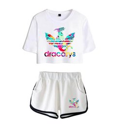 Pink Clothing Women UK - Two piece Set Dracarys New Fashion Summer Short Sleeve Crop Top+Shorts Arrival Hot Sale Casual Streetwear Clothes Women Suit