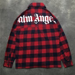 blue plaid shirt woman NZ - NEW Fashion Streetwear Palm Angels Pockets shirt Red blue Plaid Long sleeve shirts 2019ss hip hop Men Women Palm Angels shirt