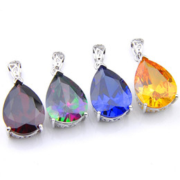 mixed color gems necklace UK - Hot Luckyshine Mix Color 4Pcs Lot Classic Delicate Water Drop Topaz Cubic Zirconia Gems 925 Silver Pendants for Necklace Party Holiday Gifts