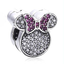 real mice Canada - New 100% Real 925 Sterling Silver Charm Pave Cartoon Mouse With Crystal Clip Stopper Charm Bead Fit Women Gift European Bracelet Diy Jewelry