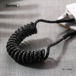 Опт REMAX / Wire Плетеный пружинный провод Super Cable Кабель для передачи данных 2.1A Масштабируемый портативный для iphone samsung huawei с розничной упаковке