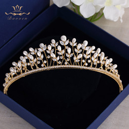 $enCountryForm.capitalKeyWord Australia - High Quality Gold Tiaras Headpieces For Brides Zircon Crystal Bridal Crowns Pearls Wedding Hairbands Evening Hair Accessories T190628