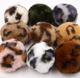 Artificial Chains Wholesalers Australia - 8CM 9 Colors Fluffy Rabbit Fur Ball Key Chain Sexy Leopard Print Pompom Artificial Rabbit Fur Keychain Women Car Bag Key Ring