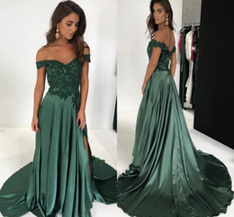 Wholesale pick up lines for sale – custom Hunter Green Off Shoulders Lace Top Satin Long Bridesmaid Dresses Cheap A Line Zipper Back Side Split Evening Prom Wedding Party Wear
