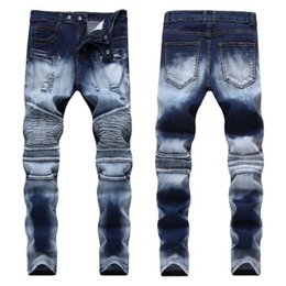 Brown Ripped Jeans NZ - Wholesale- Quality Ripped Jeans Men Mens Distressed Denim Joggers Knee Holes Washed Destroyed Jeans Plus 28-40