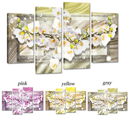 $enCountryForm.capitalKeyWord Australia - Amosi Art Canvas Print Wall Art Butterfly Orchid Flowers Painting for Home Decoration Bedroom Framed White Floral Artwork Set of 4 Pieces