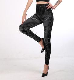 Wholesale capri jeggings for sale – dress Women s jeggings imitation denim jean tights slimming spandex leggings push up hips super elastic pants skinny capri S XXXL pants