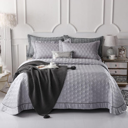 $enCountryForm.capitalKeyWord UK - Famvotar Reversible Quilt Set Queen King Size Diamond Grey Stitched Pattern 3 Pieces (1 Quilt +2 Pillow Shams) Quilted Bedspread