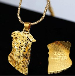 Jesus Christ Gold Pendant Australia - Hip Hop JESUS Christ Piece Head Face Pendants Necklaces Gold Chain for Men Jewelry chunky chain long necklace Free Shipping