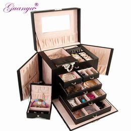$enCountryForm.capitalKeyWord Australia - Guanya Large Jewelry Box Watch Case Beads Earring Ring Jewelry Armoire Storage Case Black White Roseo Leather Trinket Organizer