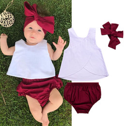 year girls outfits 2020 - Baby Girl Clothing Set Infant Toddler Clothes Baby Girl Tank Top Dress+shorts Pants+headwear Outfit Set 0-3 Years cheap