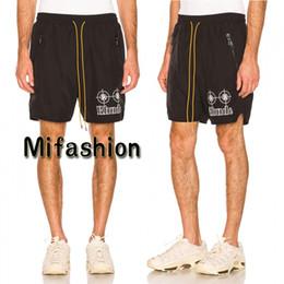 Chinese  2019 Summer America Rhude Drop Crotch Fashion Men Luxury Shorts Casual Kanye West Dwyane Wade Sweatshort Women Beach Short Pants manufacturers