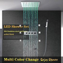concealed shower set Australia - 12 '' Electricity Power LED Light Ceiling Shower Set SPA Jets Spray Concealed Embedded Into Wall Shower Set System Faucets Rainfall