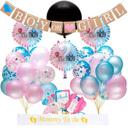 Boy Girl Baby Shower Decorations Australia - 64pcs lot Gender Reveal Balloon Party Supplies 36 Inch Gender Reveal Boy or Girl Banner Confetti Foil Balloon Baby Shower Decoration Set