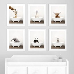wholesale paintings NZ - Baby Animal in Bathtub Poster Alpaca Giraffe Panda Elephant Bear Canvas Painting Nursery Wall Art Nordic Pictures Kid Room Decor