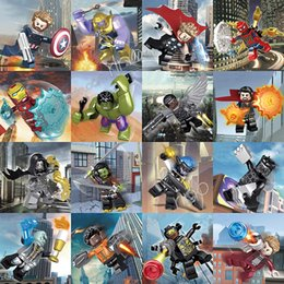 Marvel Blocks Figure Canada - Marvel building blocks Sets Avengers Mini Super Hero Superhero Iron Man Thor Hulk Captain America Figures Building Blocks Toys 16pcs lot