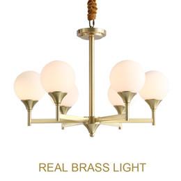 $enCountryForm.capitalKeyWord Australia - Post modern milky glass ball copper pendant light lamp LED brass hanging lamp European American modern golden pendant lamp light