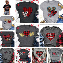 wholesale round neck tee shirts NZ - Cheap Women Fashion T-shirts 2020 Valentines Day Love Plaid Short Sleeve Round Neck T Shirt Pullover Elastic Breathable Top Tees E1904