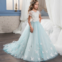 Formal Military Ball Gowns Australia - Retail girls butterfly appliqued flower embroidery lace mesh dress kids pearl beading short sleeve court princess ball bow wedding dresses