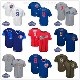 javier baez grey jersey 2019 - 2019 Mens Women Youth Cubs Jersey Javier #9 Baez Jersey Stitched White Gray Grey Blue Gold Green Salute to Service Playe
