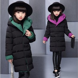 fur suit coat Australia - Baby girls clothes 3-15T kids winter warm jacket teenage Double-sided wear down cotton coat children hooded coat baby snow suit