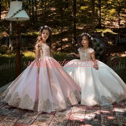 Cheap Satin Flower Girl Dresses Australia - Elegant 2019 Satin Lace Flower Girls Dresses Cheap Girls Party Pageant Dress Baby Birthday Gowns Kids Formal Wear First Communion Dress