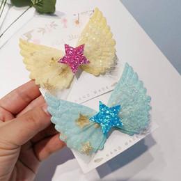 Korean baby girl headbands online shopping - INS Korean lace hair bows girls hair clips angel s wings princess baby BB clips cute kids barrettes designer hair accessories