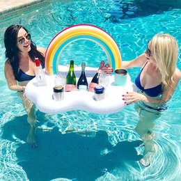 $enCountryForm.capitalKeyWord Australia - 10pc lot Ice Bucket Rainbow Cloud Cup Holder Inflatable Pool Float Pool Raft Cooler Beer Drink Table Bar Tray Party Toy Beach Accessories