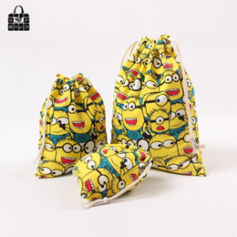 $enCountryForm.capitalKeyWord Australia - Wholesale-Animated cartoon print 100%cotton canvas bag Clothes socks underwear shoes receive cloth bag home Sundry kids toy storage bags
