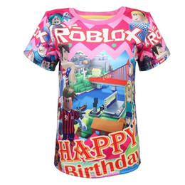 costume cosplay top UK - Anime Roblox Happy Birthday Theme Cosplay Provided Game Kids Costume Boys Christmas T Shirt Girl Tops Cartoon Thanksgiving Shirt Y19051003
