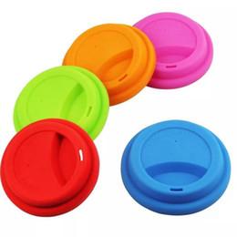 Vente en gros Spill anti-poussière de la Coupe du silicone Couvercles preuve de qualité alimentaire Coupe silicone Lid tasse à café de lait tasses de thé Couverture Seal Couvercles 13 couleurs HHA761