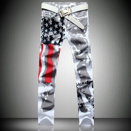 american flag trousers Australia - 2020 New Fashion Mens American USA Flag Printed Jeans Straight Slim Fit Trousers Plus Size 38 40 42 Casual Jeans Pants For Men