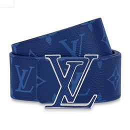 Double Sided Leather Belts NZ - Designer belt initiales M0159U Men's double-sided leather belt Cross grain calfskin printed belt 2019 luxury fashion accessories