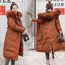 Long Padding Jacket Australia - New Fashionable Women Down Parkas Long Hooded Fur Coat Winter Jacket Women Cotton Padded Jacket Coat Female Thick Solid Outwear