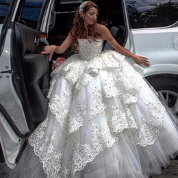 $enCountryForm.capitalKeyWord Australia - Luxury Ball Gown wedding dresses 2019 Sexy Strapless bridal gowns lace up corset bodice tiered appliques wedding gowns