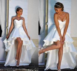 $enCountryForm.capitalKeyWord Australia - High Low Short Wedding Dresses Strapless A-line Simple Satin Beach Bridal Gowns Outdoor Wedding Dress Custom Made
