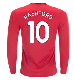 Discount customized long sleeve soccer jerseys - Thai Quality Customized 19-20 men Long sleeve Rashford 10 Soccer Jerseys shirts,mens 9 Martial 21 JAMES 6 POGBA 7 Alexis