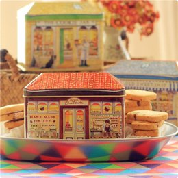 Wholesale Decorative Storage Boxes NZ - Vintage European Decorative Bakery Tin Box Gift Packing For Cookie Biscuit Candy Container Kitchen Storage Iron Box
