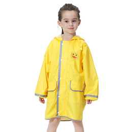 Kids Yellow Duck Raincoats Ufo Cap Umbrella Cosplay Student Rain Coats Automatic Folding Umbrella Creative Design Childrenbaby Home
