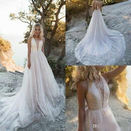 Luxury Red Train Royal Wedding Dress NZ - Luxury Beading 2019 Wedding Dresses Beach Sheer V Neck Open Back Sequined Wedding Dress Bridal Gowns Sweep Train