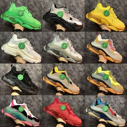 Wholesale green yellow fabric resale online - 2020 Triple s fashion Paris FW Triple s Sneakers for men women black red white green Casual Dad Shoes tennis increasing sneakers