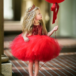 $enCountryForm.capitalKeyWord Australia - Princess Kids Baby Fancy Wedding Dress Bling Sequins Dress For Girl Party Frocks Backless Design Tutu Fluffy Children Vestidos