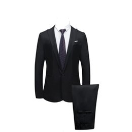 fly business UK - JAYCOSIN Jacket+Pant 2019 Men's Pure color suit Slim Fit fashion leisure wedding dress suits Man Business Men coat blazers