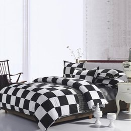 3d duvet set king size online shopping - Black And White Plaid Bedding Set Queen Size Simple Classic High End Duvet Cover King Twin Full Single Comfortable Bed Cover with Pillowcase