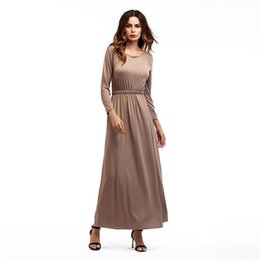 $enCountryForm.capitalKeyWord Australia - Womens Maxi Dress Spring Long Sleeve O Neck Boho Beach Party Solid Casual Khiaki Gray Black Green High Waist Long Dresses