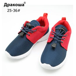 elastic plastic spring NZ - Apakowa Children Casual Shoes Elastic Lace Light Weight Mesh Kids Shoes Boys Girls Sneakers Breathable Sport Shoes Eu 25-36 Y190525