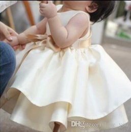 $enCountryForm.capitalKeyWord Australia - Lovely Light Champagne Satin Toddlers Flower Girl Dresses Cascading Ruffle TuTu Baby Gown Real Image Tea Length Pageant Dress With Bow