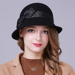 f8ba91cee6e54 Sedancasesa Autumn Winter Female hats cloche ladies England Retro  Australian wool Felt Hat Bow Bucket hats for Women FW206005