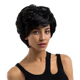 Smart Hair Australia - European American Fashion Ladies Black Short Real Human Hair Fluffy Smart Comfort Hair Sets Cosplay Party Hair Full Wig Wigs